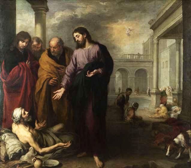 Ο Ιησούς θεραπεύει τον παράλυτο στην κολυμβήθρα της Βηθεσδά. Πίνακας του Bartolomé Esteban Murillo (1667-70).